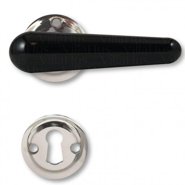 Bakelit dørgreb, indendørs - Sort / blank nikkel - Model LANGELINIE