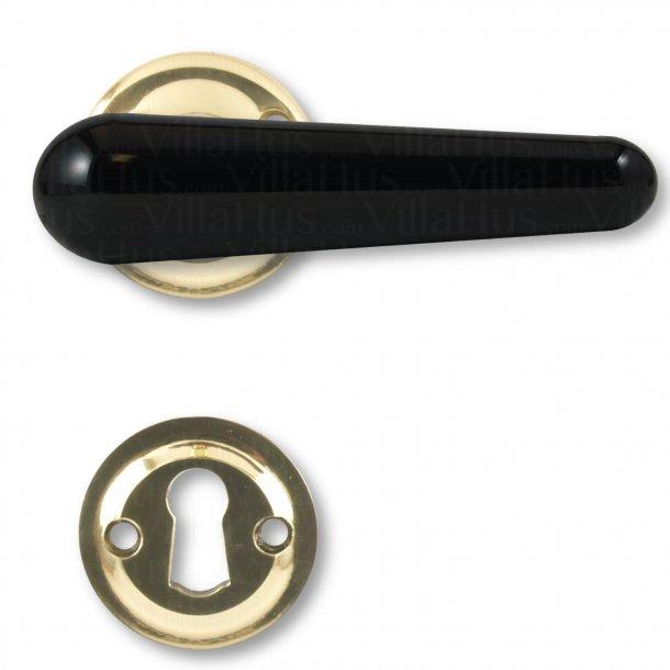 Bakelite door handle, Interior - Black / Brass - Model LANGELINIE