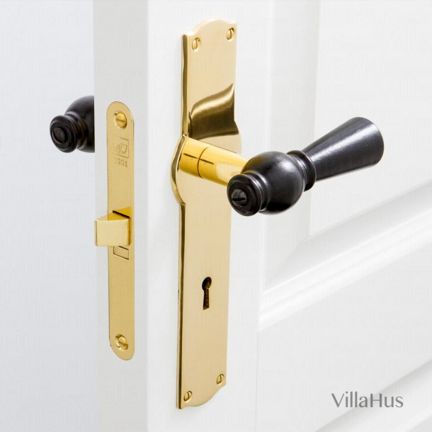 Black wooden door handle - Brass back plate with keyhole