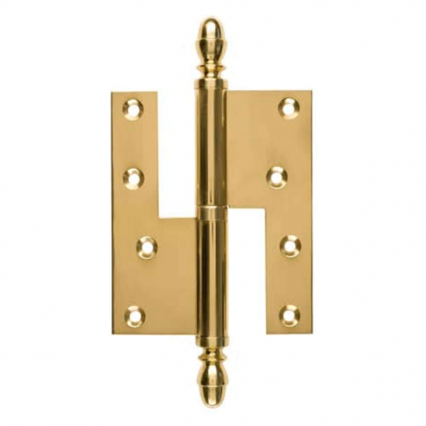 Door hinge, Right - 130 x 45 mm - Square / Acorn knob - Brass