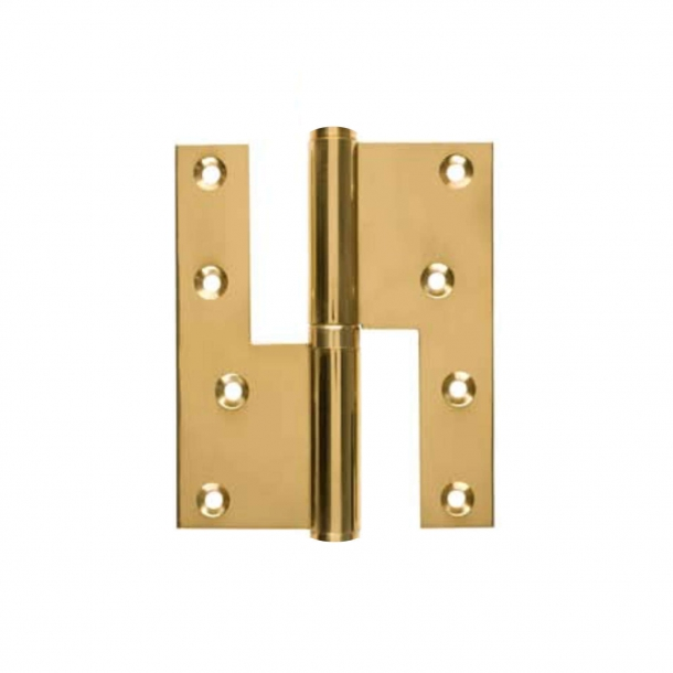 Door hinge, Right - 115 x 34 mm - Square - Brass - stainless steel pin
