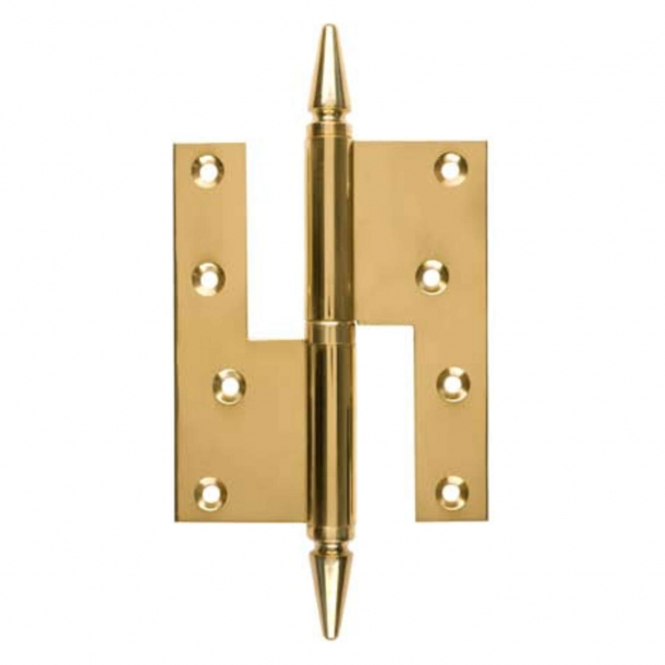 Door hinge, Right - 115 x 34 mm - Square / Point Knob - Brass