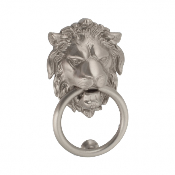 Door knocker lion head, Nickel satin, 115x90 mm (202712)