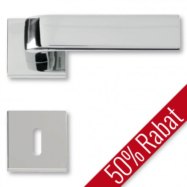 Door handle interior, Polished Chrome, rosette and escutcheon - DOROTEA - Promotional Price