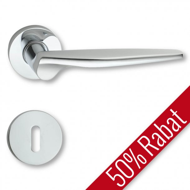 Door handle interior, Polished chrome rosette and escutcheon - The 1950s - Promotional Price