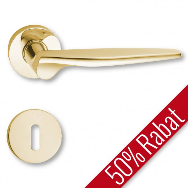 Door handle interior, Polished Brass rosette and escutcheon - The 1950s - Promotional Price