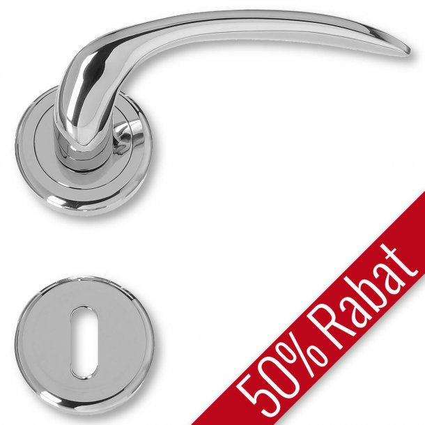 Door handle interior, Polished Chrome, rosette and escutcheon - KAZUYO - Promotional Price