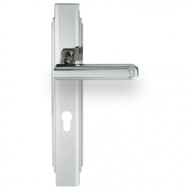 Door handle - Exterior - Nickel - Art Deco , Back plate with Europrofile - C17810