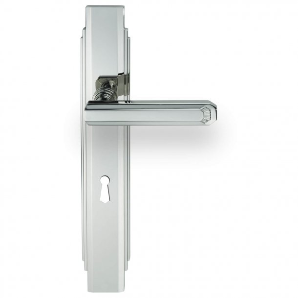 Dørgreb indendørs Nikkel - Art Deco - Langskilt med nøglehul - C17810