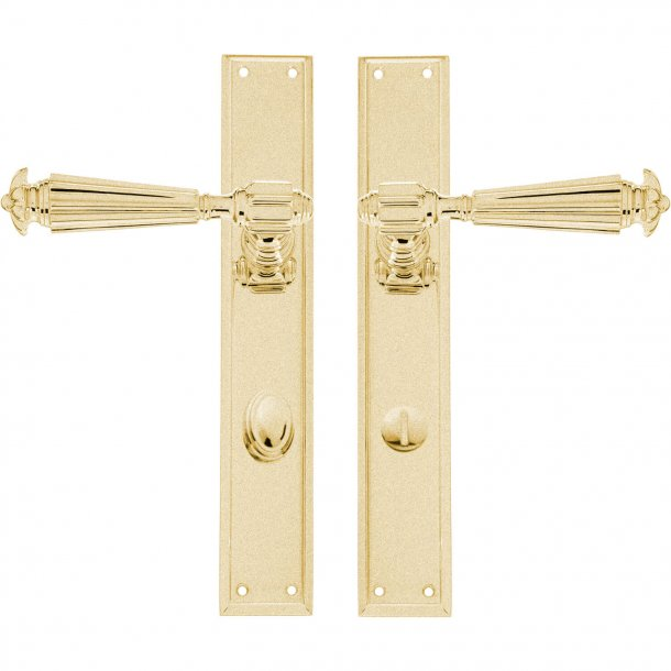 Door handle - Interior - Backplate with Privacy lock - Brushed brass - XX Century model C07810