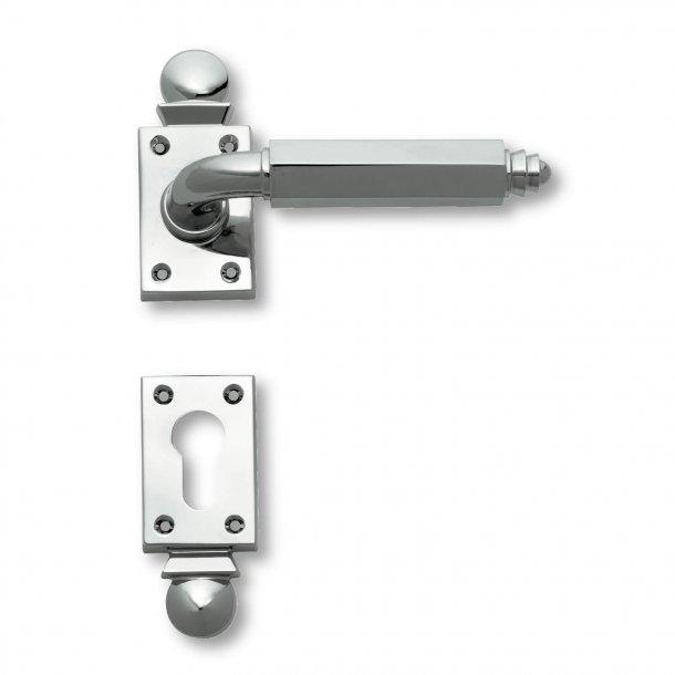 Door handle interior Chrome - Art Deco - Rosset / Key Tag - C09511