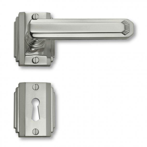 Dørgreb indendørs Nikkel - Art Deco - Roset/Nøgleskilt - C17811
