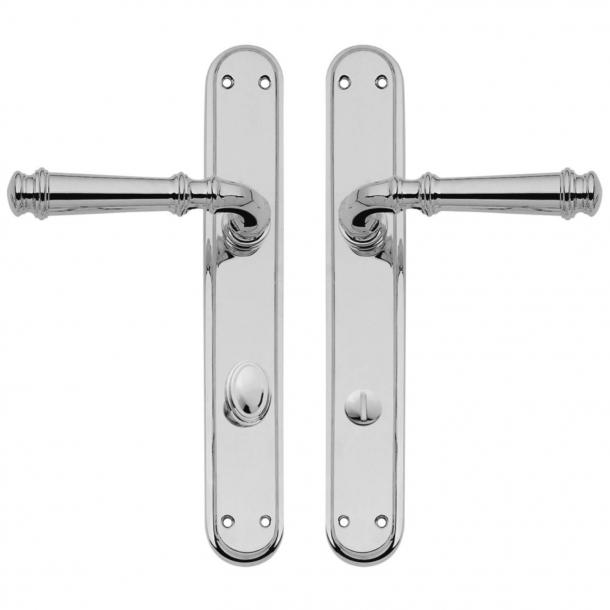 Door handle on backplate with privacy lock - Chrome plated - Interior - XX Century - model C13010/5