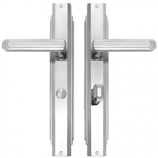 Door handle interior Nickel Plated - Art Deco , Back plate with Privacy lock