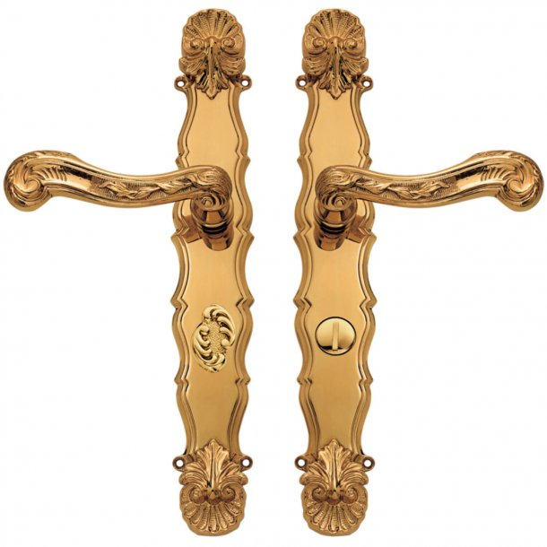 Door handle interior - Brass - Back plate - Privacy lock - Italian Baroque - model C04312