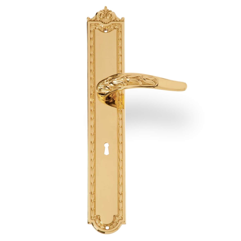 Door handle interior back plate brass first empire model 8000 ep italian door handles for Interior door handles with backplates
