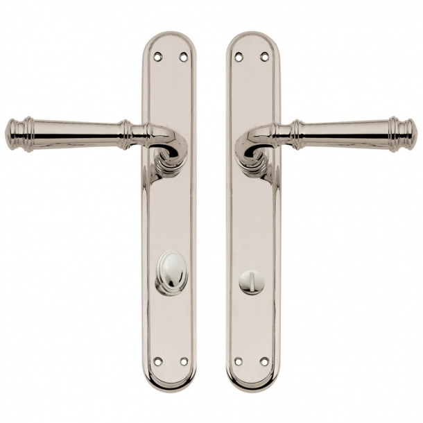 Door handle on backplate with privacy lock - Nickel plated - Interior - XX Century - model C13010/5