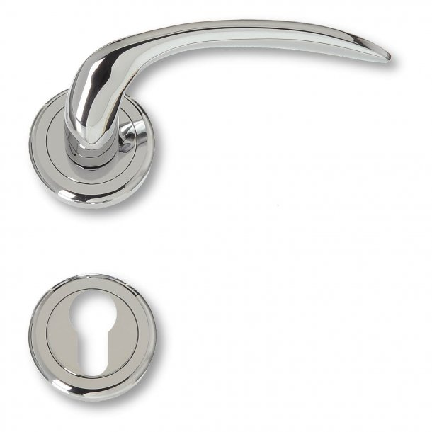 Door handle exterior chrome, rosette and cylinder ring, Model 480390