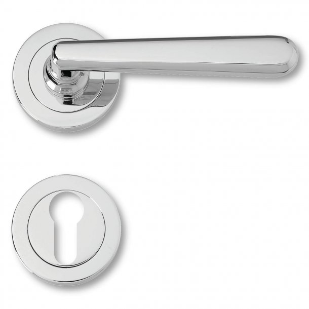 Door handle exterior chrome, rosette and cylinder ring, Model 4802