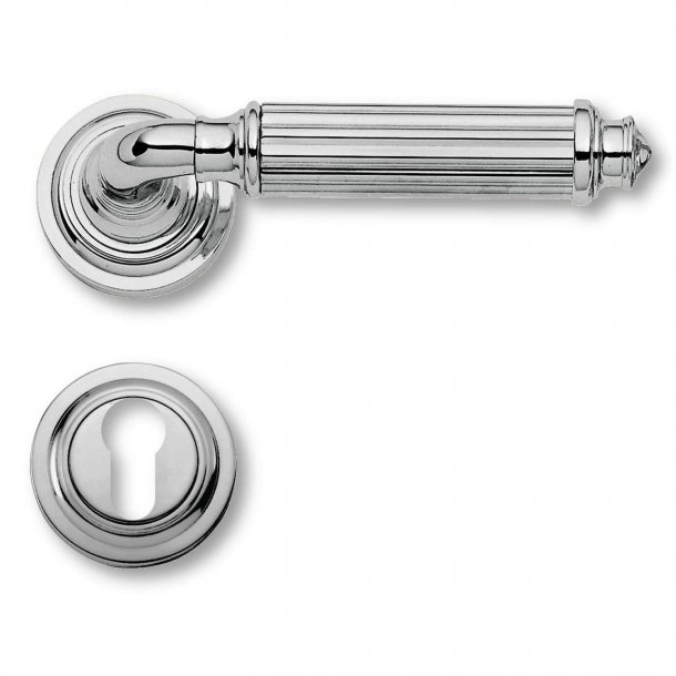 Door handle exterior Chrome, rosette and cylinder ring, Model C15111