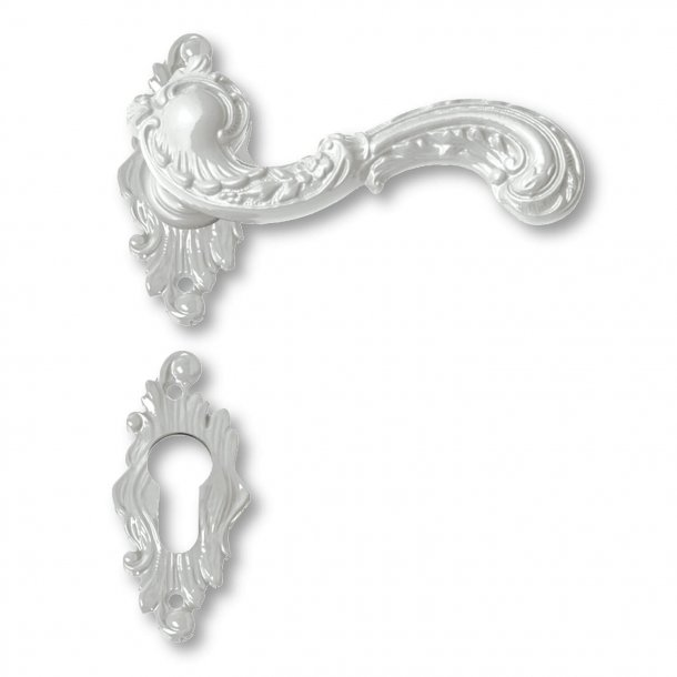Door handle exterior rosette and escutcheon - white - ROCOCO POP - model C12811