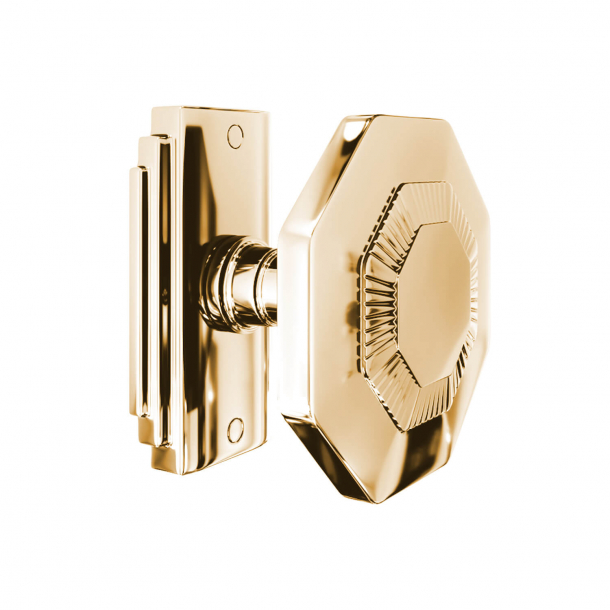 Door handle - 8-corner - Brass without lacquer - Model C27800