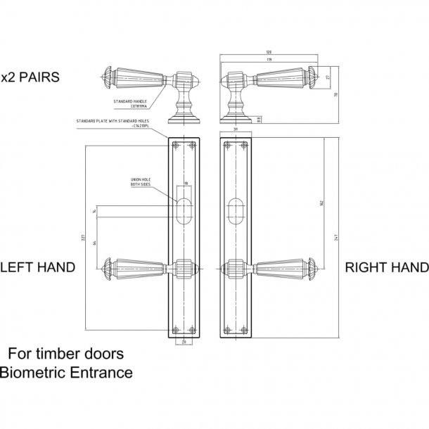 Door handle on plate - Drawing TK3308TLR - Polished nickel