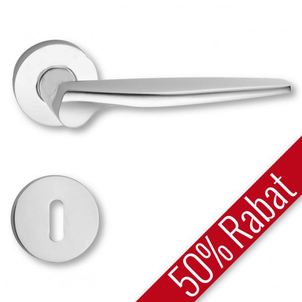 Klamka do drzwi - Matowy chrom - Rozeta pod klucz - C06896C