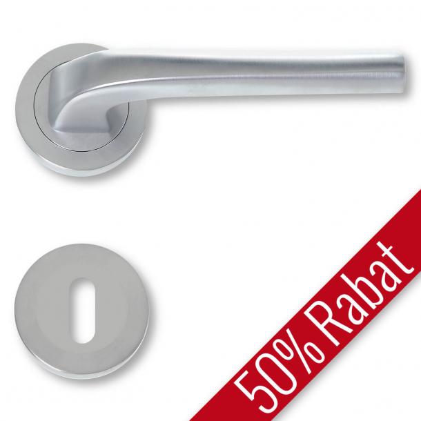 Klamka do drzwi - Matowy chrom - Rozeta pod klucz - 480796R - Promocja