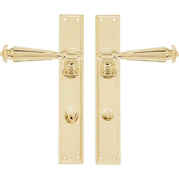 Door handle - Interior - Backplate with Privacy lock - Brushed brass - XX Century model C07810