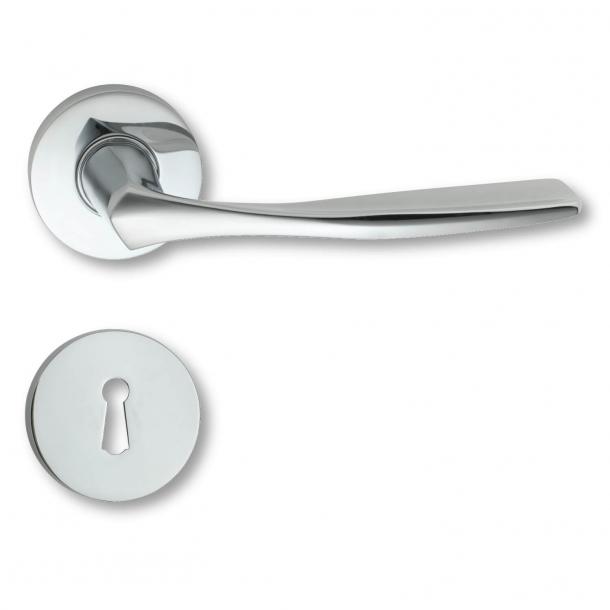 Door handle interior Blank chrome rosette and escutcheon - 1950 - C07911