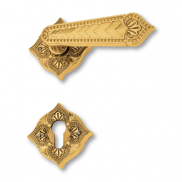 Klamka do drzwi - Mosiądz - Rozeta/ Rozeta na klucze - Styl kolonialny - model C12111