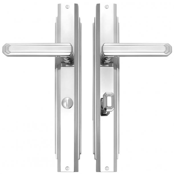 Klamka do drzwi - Chrom błyszczący - Art Deco - Szyld długi z blokadą prywatności