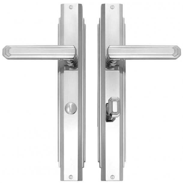Door handle interior Nickel Plated - Art Deco , Back plate with Privacy lock