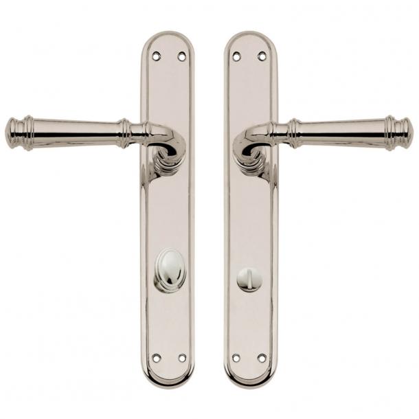Door handle on backplate with privacy lock - Nickel plated - Interior - XX Century - model C13010/5