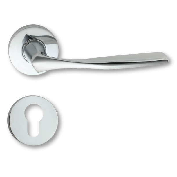 Door handle exterior chrome, rosette and cylinder ring, Model C07911