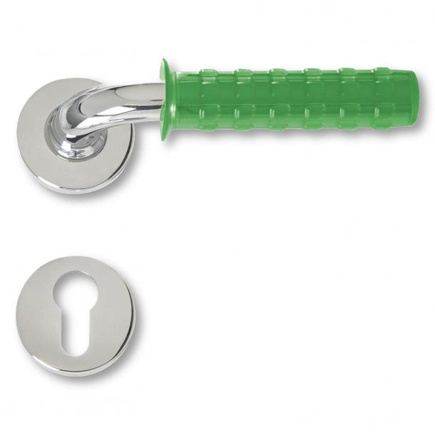 Door handle chrome and green rubber - Pop Gum - model C19511