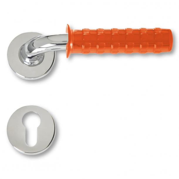 Klamka do drzwi  - chrom i pomarańczowa osłona - Pop Gum - model C19511