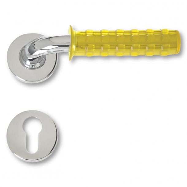 Door handle chrome and yellow rubber - Pop Gum - model C19511