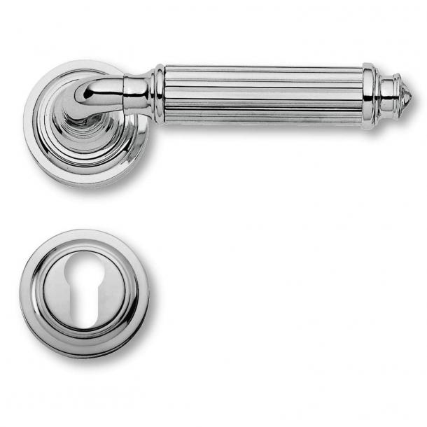 Klamka do drzwi - Chrom - Rozeta i wkładka bębenkowa - Model C15111