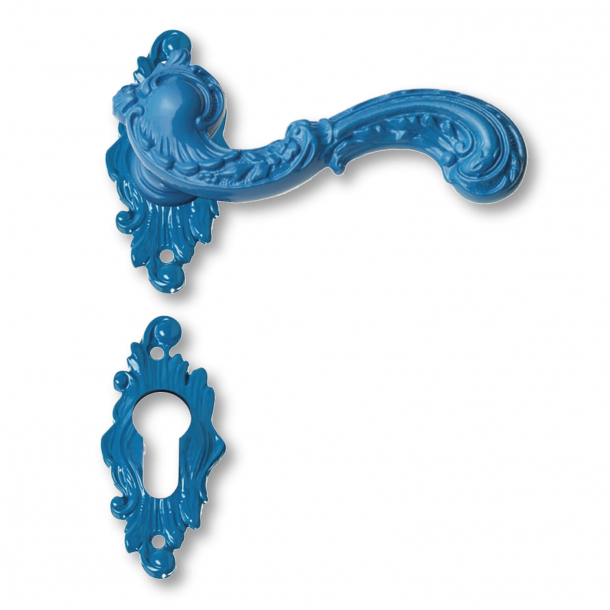 Door handle exterior rosette and escutcheon - blue - ROCOCO POP - model C12811
