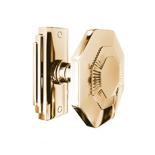 Klamka - 8-kątna - Mosiądz bez lakieru - Model C27800