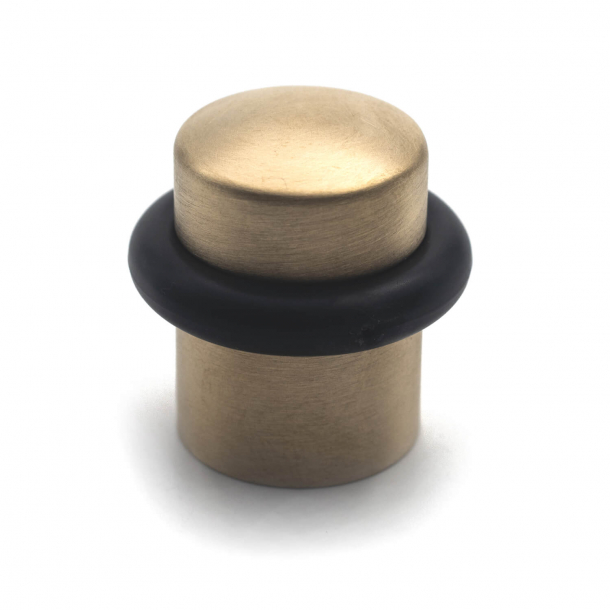 Door stop - Brushed Brass - Black rubber band - 34 mm - Model 1307