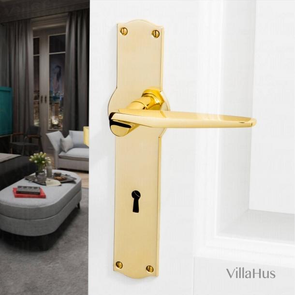 Dørgreb indendørs - Blank messing - Langskilt med nøglehul - Model GAE
