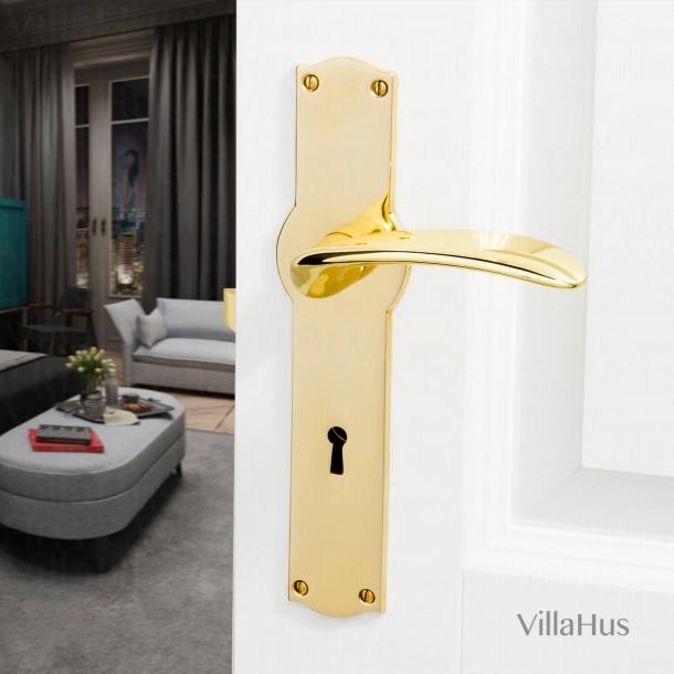 Klamka do drzwi - Mosiądz - Amalienborg - Szyld długi z dziurką pod klucz - Model KAZUYO