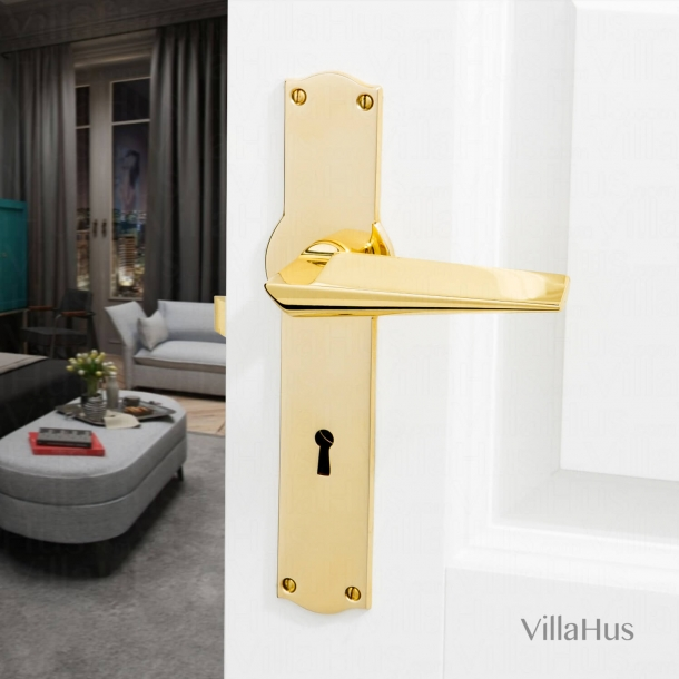 Door Handle - Interior - Polished Brass - Backplate with Keyhole - Model MARISA
