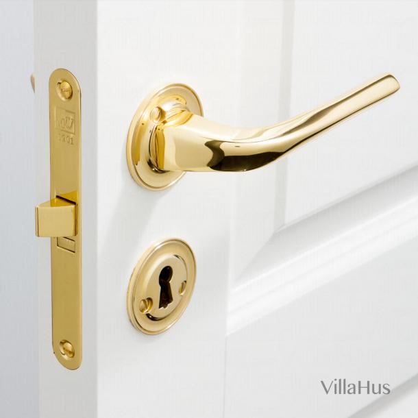 Klamka do drzwi - Mosiądz błyszczący - Rozeta zdobiona i dziurka pod klucz - Model Odile