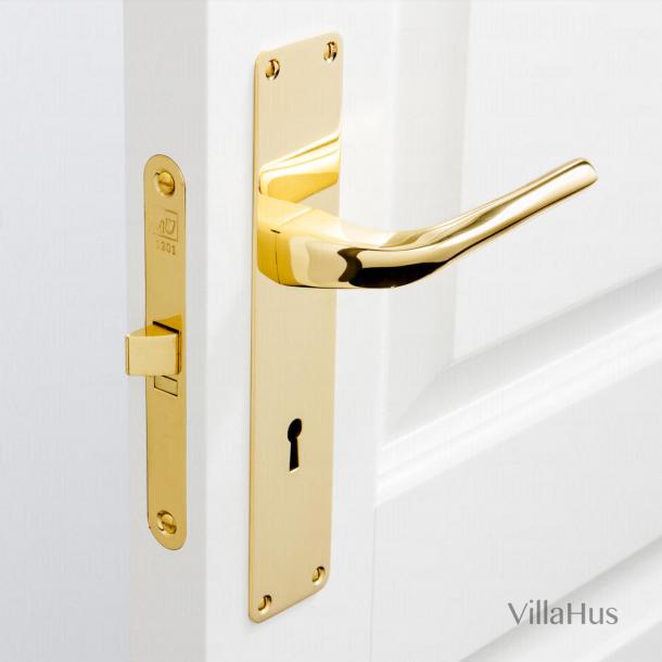 Klamka do drzwi - Mosiądz błyszczący - Szyld długi z dziurką pod klucz - Model Odile