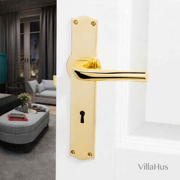 Klamka do drzwi - Mosiądz -  Amalienborg - Szyld długi z dziurką pod klucz - Model Odile