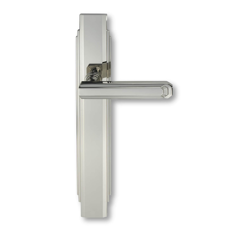 Door handle interior nickel art deco back plate c17810 italian door handles for Interior door handles with backplates